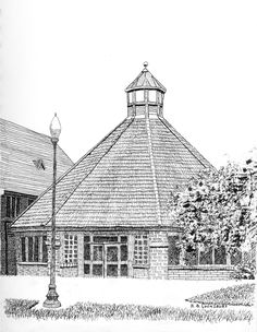 Harmony College - pen & ink saved by Bob Lounsbury