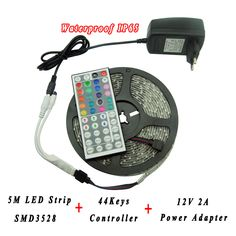 Find More LED Strips Information about 16.4ft 5M SMD3528 5050 IP65 Waterproof LED Strip Light DC12V Power Adapter Supply 44Keys IR Remote RGB Controller Flexible Tape,High Quality ip65 isolator,China led strip light connector Suppliers, Cheap led strip light flexible from Shenzhen Raysflt Technology Co., Ltd. on Aliexpress.com