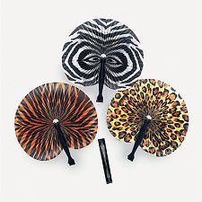 12 SAFARI JUNGLE FANS Leopard Tiger Zebra Print Dozen Kids Birthday Party Favors