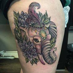 Tattoo decorated elephant head  - http://tattootodesign.com/tattoo-decorated-elephant-head/     #Tattoo, #Tattooed, #Tattoos