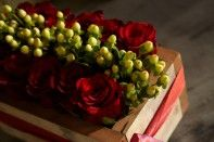 A Dozen roses arranged in a Rustic box... Great Idea!!!