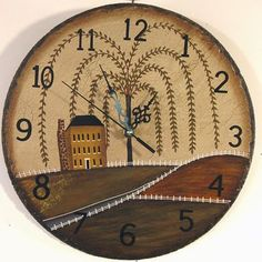 Slate Wall Clock - Painted Willow and Salt Box House Motif.