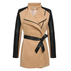 Zeagoo Women Fashion Lapel Long Sleeve Synthetic Leather Patchwork Wool Blend Trench Coat Outerwear