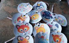An Adorable Set of 12 Vintage Style Gift Tags, 12 Cute Individual Pictures ofAnimal Faces, a Donkey in a Hat, Tiger, Elephant, Rabbit, Dog, Duck, Chick, Deer, Lamb, Fox, Panda, Background is Blue and White Check. Lovely Finishing Touch to your Gifts. Handmade Vintage Style Gift Tags, 2 inch Round Gift Tags, Lables. Gift Wrapping Accessories.  Thank you for your time | Shop this product here: http://spreesy.com/SpryHandcrafted/260 | Shop all of our products at…