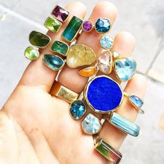 Back in Candy colored gems by Greek Jewelry, Jewelry Rings, Jewellery, Druzy Ring, Gemstone Rings, Natural Forms, Candy Colors, Gemstone Colors, Peridot