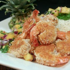 ❥ Coconut Crusted Shrimp and Spicy Pineapple Salsa by thehealthyfoodie