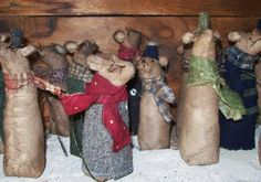Caroling mice dressed in vintage and early fabrics