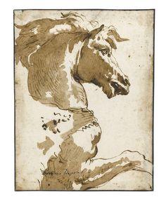 GIOVANNI DOMENICO TIEPOLO VENICE 1727 - 1804 STUDY OF A HORSE IN PROFILE