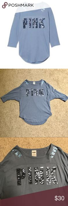 VS PINK Bling Boyfriend Tee Light blue boyfriend tee with bling letters. Has a oversized, comfortable fit. Only worn maybe once or twice and in like new condition. Has 3/4 sleeves. Bundle and save! PINK Victoria's Secret Tops