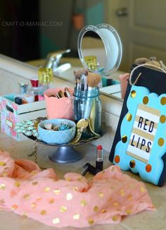 DIY Very Girly Beauty Station! Such cute ideas using the Home+Made Line of Paper!