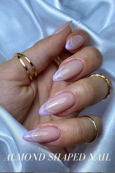 Acrylic Nails Almond Shape, French Tip Acrylic Nails, Purple Acrylic Nails, Best Acrylic Nails, Almond Nails French, French Nails, Cute Almond Nails, Almond Nail Art, Purple Ombre Nails