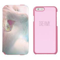 Dreamy Cat Portrait / Incipio Watson™ iPhone 6, 2-in-1 Wallet Case + Interior Case, in coral/pink color! #fomadesign