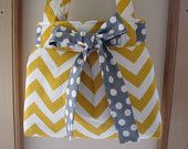Chevron Shoulder Pleated Handbag, Purse Ipad Netbook Tote  in Yellow and White Made in USA - pinned by pin4etsy.com