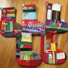 Stockings from recycled sweaters!  Cute!