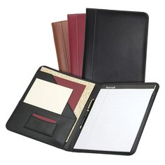 Leather cover with contrast stitching Interior document pocket Business card pocket Pen loop writing pad included Leather Notepad, Leather Notebook, Leather Journal, Stitching Leather, Leather Tooling, Leather Bag, Handmade Notebook, Handmade Books, Custom Leather