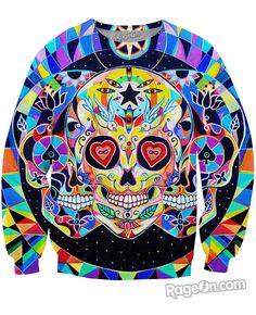 RageOn David Frank Love /& Death Crewneck Premium All Over Print Sweatshirt