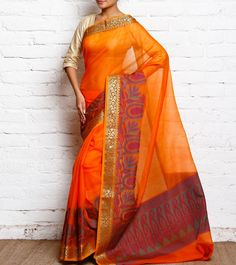 Orange Cotton Silk Banarasi Saree