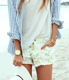#Floral cut offs and a button up  Jeans Shorts