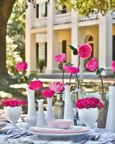 Various milk-white and mercury glass containers contrast with the deep-pink blossoms they hold in a spectacular showcase. Location: Monmouth Historic Inn #southernladymag #floralinspo #flowers #milkglass #mercuryglass #floralarrangements #flowers #pinkflowers Candy Decorations, Table Decorations, Centerpieces, Fresh Flowers, Pink Flowers, Pink Dishes, Southern Ladies, Spring Party, Pink Blossom