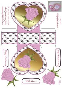 Pink rose heart basket with step by step decoupage and text plates. Please click on my name for more designs added daily.