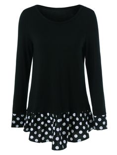 $9.47 for Flounced Polka Dot Patchwork T-Shirt in Black | Sammydress.com                                                                                                                                                                                 More