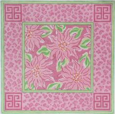 Lilly-inspired Chinoiserie Chrysanthemums  12 1/2 x 12 1/2, 13 mesh