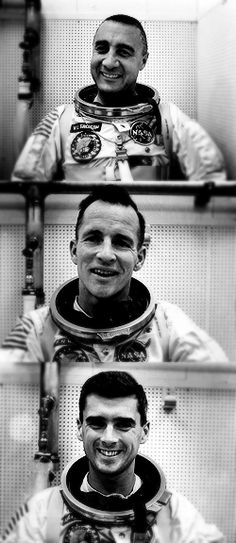 Gus, Ed, Roger. Apollo 1. All killed by flash fire in Apollo capsule on launch pad during tests.