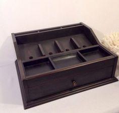 Special Listing For Lisa-large Black Dresser Valet Box Rustic Desktop Organizer…