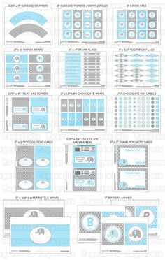 Printable bricolaje personalizada azul y por PapercutsPartyShop