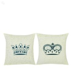 King and Queen Cushion Covers. These are really classic. Not sure what the consort's crown looks like, though (as it hasn't been used for over 60 years). Cushion Ideas, Queen Birthday, Textiles, Project Ideas, Projects, King Queen, Cushion Covers, Digital Prints, June
