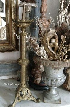 FleaingFrance.....antique church candlestick from Provence.