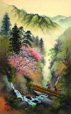 Kojima Koukei ~Hanging Bridge Over The Rushing River ~ Stunning! Lotus Painting, Ink Painting, Japanese Artwork, Japanese Painting, Watercolor Landscape Paintings, Impressionist Paintings, Waterfall Paintings, Classic Sailing, Japan Art