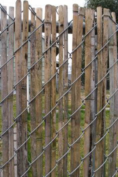 OO! woven bamboo strips through chain link fence instead of plastic!!