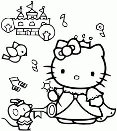 Coloriage hello kitty grand format