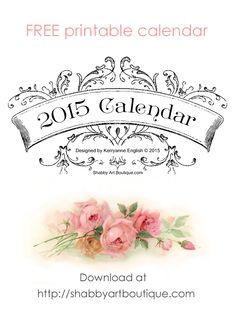 Shabby Art Boutique - free printable 2015 calendar so pretty 2015 Calendar Printable, Printable Labels, Printable Designs, Free Printables, Calander Printable, Printable Templates, Filofax, Paper Art, Paper Crafts
