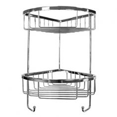 This contemporary double chrome corner shower basket sits discreetly in the corner of your bath or shower area.