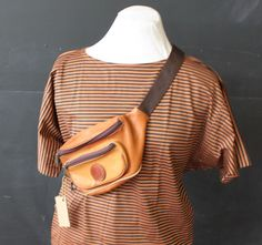 tan leather belt bag by cheapopulance on Etsy, $25.00