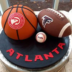 When the groom's heart belongs with more than one team... #forgoodnesscakes #cakeengineer #groomscake #atlantaweddings #falcons #braves #hawks