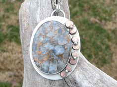 Blue Calcite with Bronze Sterling Silver Necklace by @sandicarrico, $82.50