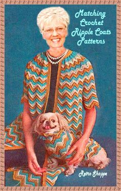 Ripple Crochet Cloak & Dog Coat Patterns  ~ note size is for dog. Too funny not to pin...