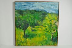 Naturalist Impasto Landscape Trees Mountains Oil Painting On Canvas Signed #Modernism