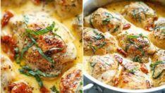 Vyzkoušejte recept na šťavnaté kuře v lahodné krémové omáčce. Sušená rajčata a spousta bylinek jí dodají nevšední chuť, kterou si určitě zamilujete! Dried Tomatoes, Sun Dried, Pavlova, Quiche, Chicken Recipes, Food And Drink, Menu, Fresh, Cooking