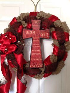 Christian cross wreath