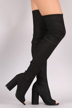 These stylish boots feature a peep toe silhouette, partial inside zip closure, over-the-knee silhouette, and cushioned insole. Finished with a wrapped round heel and partial side zip closure. Material