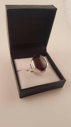 Ruby Red Yemeni Aqeeq Silver Islamic ring. Made with 98% pure silver. www.twelvegems.com