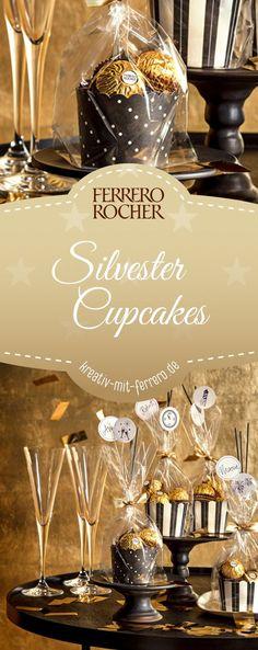 Silvester Cupcakes: Süß und goldig glänzend darf es zu Silvester sein. Entdecken Sie, wie Sie in wenigen Schritten tolle Geschenke für Ihre Liebsten gestalten. Mit unseren Silvester-Cupcakes wird Ihr Neujahrsfest erstrahlen.  #diy #silvester #ferrerorocher Birthday Present Diy, Birthday Presents, Ferrero Rocher, Creative Gift Wrapping, Creative Gifts, Christmas Lights, Xmas, Craft Gifts, New Years Eve
