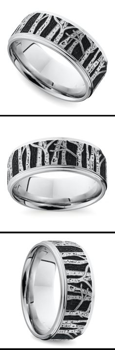 An Aspen forest is laser carved into this 8 mm cobalt band, giving the ring a unique personality!