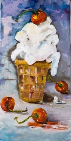 Ice Cream Cone with Cherries, painting by artist Delilah Smith