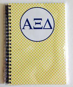 Alpha Xi Delta (AXiD) Sorority Letters Spiral Notebook: $22.00. Great Greek Gift.