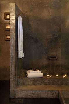Inspiratiebeeld voor badkamer!! Interesse in een betonstuc, tadelakt, betoncire…